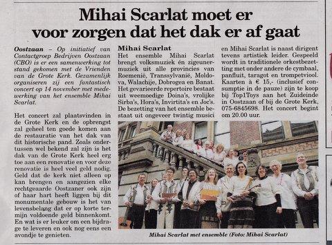 Concert Oostzaan artikel